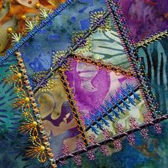 Simply Crazy Quilt Series 1 Part 3 Patchwork Machine Embroidery Designs consists of 4 embellished applique squares.