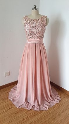 2015 Scoop Dusty Rose Lace Chiffon Long Prom Dress by DressCulture Orange Prom Dresses, Rose Bridesmaid Dresses, Prom Party Dresses, Formal Evening Dresses, Lace Dresses, Dress Party, Chiffon Dress Long, Beaded Chiffon, Cocktail Dress Prom