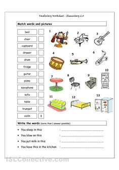 the house vocabulary worksheets pdf