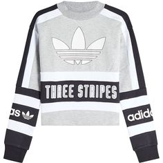 Adidas Originals Cotton Sweatshirt ($89) ❤ liked on Polyvore featuring tops, hoodies, sweatshirts, sweaters, sweatshirt, grey, cotton sweatshirts, gray sweatshirt, adidas originals sweatshirt and oversized grey sweatshirt