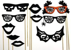 Photo booth props are great even when you don't have a photo booth. We've featured some in the past, too. But if you're planning a Halloween wedding, these spider webs, skulls, an…