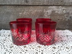 Bohemian Ruby Red Tumblers, Set of 4, Pineapple Diamond Dot Design, Whiskey, Rock Glasses, Colored Glasses, Glassware. by CottonCreekCottage on Etsy
