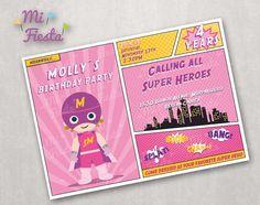 Super Hero Girl Birthday Custom Invitation 5X7 Digital by MiFiesta, $9.99