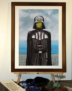 "Poster 11""x17"" - Print from my star wars painting of Darth Vader, Magritte inspired, surrealism."