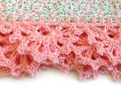 Crochet edging on tea towels by Sandy Rails