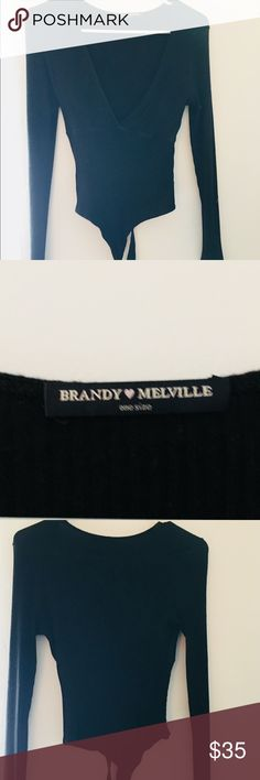 Brandy Melville Thong Bodysuit One Size, Black No stains rips or holes Worn once, Wrap Bodysuit Brandy Melville Tops