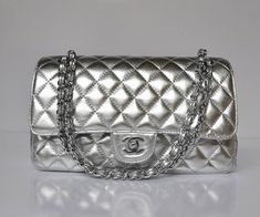 2012 Chanel 2.55 Bag Silver Lambskin Classic Flap