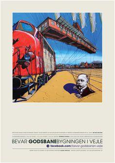 Støtteplakat til fordel for bevarelse af den gamle godsbanebygning i Vejle.  Motiv: Alexei Svetlov  Plakatdesign: Ole Aakjær · www.marginal.dk