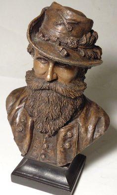 Ron Tunison JEB STUART bust Civil War Cold Cast Bronze Sculpture of only 350