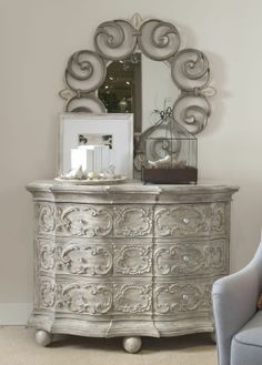 french linen and white wax (paint mixed with wax) can create this look~ Silver Furniture, Chalk Paint Furniture, Unique Furniture, Diy Furniture, Furniture Design, Interior Desing, French Country Decorating, Furniture Makeover, Dresser Makeovers
