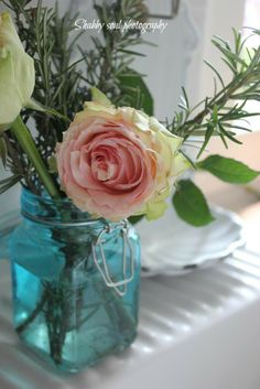 Pink rose in blue ball jar- simply gorgeous!   Shabby soul blog photography