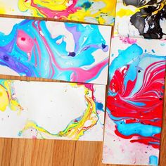 Create gorgeous, vibrant marbled paper using nail polish and water. So easy (and fun) that even a child can do it!
