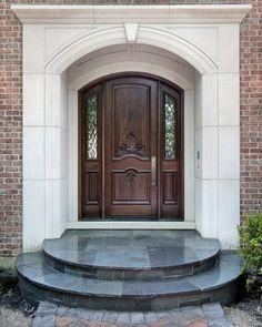 Front Door Designs for Your Amazing House : Circle Door Step Brick Wall Luxury Front Door Designs