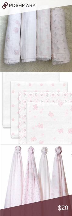 Swaddle design 4pk muslin blankets Butterflies 🦋 and posies design. All in EUC. Well cared for and baby did not need swaddling for long. 100% cotton.nice and breathable material. Items become softer with each wash. Ready for new home and new princes. Swaddle Designs Accessories