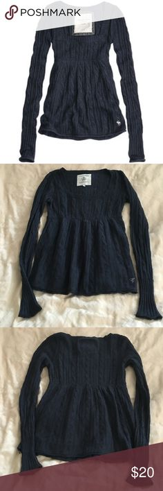 Navy Blue Babydoll Sweater Super cute and feminine babydoll sweater! Navy blue with scoop neck front, empire waist and long sleeves! Amazing quality, purchased from Campus Crew in Canada (like Abercrombie). Good condition, size xs, but will fit small as well. Campus Crew Sweaters Crew & Scoop Necks