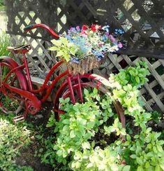 Flea Market Gardening ~ collection of vintage bikes in the garden