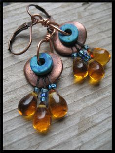 Egyptian Revival Earrings Copper disks, findings.  www.facebook.com/MamacitaBeadworks D'Arsie Manzella
