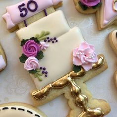 Happy to a fun grandma who digs jewelry, handbags, and lunch with her girlfriends. 💜*all shops are tagged Fancy Cookies, Iced Cookies, Cute Cookies, Holiday Cookies, Cupcake Cookies, Sugar Cookies, Cupcakes, Sugar Cookie Royal Icing, Cookie Frosting