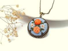Ann floral colorful hand embroidered jewelry by ConeBomBom on Etsy