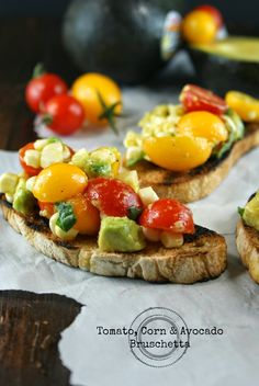 Authentic Suburban Gourmet: Tomato, Corn & Avocado Bruschetta | Friday Night Bites