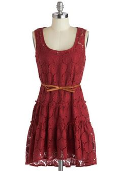 Rustic Memories Dress - Sheer, Woven, Short, Red, Solid, Bows, Belted, Casual, A-line, Tank top (2 thick straps), Good, Scoop, Lace, Rustic