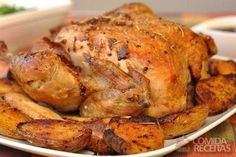 Receita de Frango assado ao creme de cebola e azeite em Aves, veja essa e outras receitas aqui!
