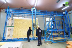 """Speed wall system from Hundegger  Designed by the world renowned manufacturer of automatic lines of woodworking; The vertical assembly """"Speed Wall System"""" was developed by the company Hundegger to provide an effective solution for manufacturing and to automate the process of assembling the walls of wooden houses;"""