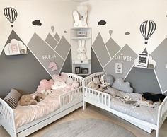 kleinkind zimmer the boo and the boy: shared kids' rooms Boy Toddler Bedroom, Boy Girl Bedroom, Toddler Rooms, Unisex Bedroom Kids, Twin Baby Rooms, Boy Rooms, Kids Bedroom Designs, Baby Room Design, Baby Room Decor