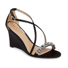 Women's Jewel Badgley Mischka Embellished Strappy Wedge Sandal (125 CAD) ❤ liked on Polyvore featuring shoes, sandals, black satin, strap sandals, strappy wedge sandals, black wedge shoes, strappy sandals and wrap sandals