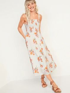 Smocked Fit & Flare Cami Midi Dress for Women | Old Navy White Floral Dress, White Midi Dress, Floral Midi Dress, Summer Floral Dress, Boho Dress, Flare Skirt, Fit Flare Dress, Fit And Flare, Cami Midi Dress