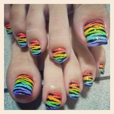 Not a fan of the colours, definitely not a fan of the length of the nails! Pretty Toes, Pretty Nails, Love Nails, Fun Nails, Rainbow Nails, Rainbow Zebra, Pedicure Nails, Pedicures, Summer Toe Nails