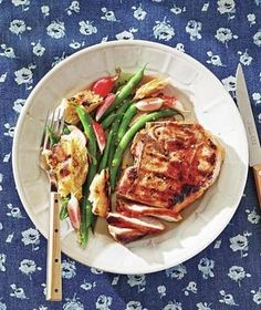 Marinated Pork Chops With Green Bean Salad   Tip: skip the bread for a low carb, Whole30 option