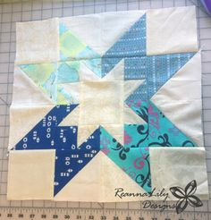 This Rising Star Quilt Block from the Sister's Sampler Quilt book by AnneMarie Chany is recreted using fabric scraps. Block stitched by Jen Eskridge.
