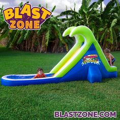 Blast Zone Tropical Splash Compact Backyard Water Slide - The Blast Zone Tropical Splash Compact Backyard Water Slide turns your lawn into a water park. Your little ones will love climbing up the slide,. Backyard Slide, Backyard Water Parks, Backyard Ideas, Banzai Water Slide, Inflatable Bounce House, Pool Rafts, Park Homes, Outdoor Play, Party Outdoor