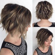 Wavy, Layered Angled Bob Cut with Short Thick Hair