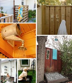 A collection of images featuring outdoor showers