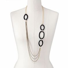 Apt. 9 Two Tone Simulated Crystal Long Swag Necklace