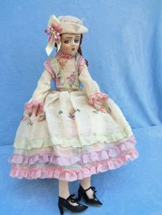 "Antique 1920s Pretty Cloth Etta Boudoir Doll 30"" Nice Clothing"