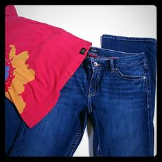 """a.n.a. Cotton spandex boot cut jeans EUC 12 P 31 Excellent used condition boot cut jeans by a.n.a. Size 12 petite. 98% Cotton with 2% spandex for a little stretch. Color is closest to pics 2 and 4. Purchased with light wear marks in front and slight fraying on bottom. Worn once. 5 pocket design with belt loops and zipper button closure. Waist 17, inseam 29, rise appx 9"""". I have two pairs of these identical jeans. I also posted a darker pair,  same size....see other listing. a.n.a Jeans Boot…"""