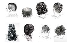"""http://www.fineartvaughan.net/  The North Adams Hair Project  A series of drawings created for the exhibition """"A Social Geography of Hair"""" in collaboration   with the hair salons and barbershops of North Adams, Massachusetts."""