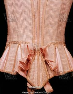 Stays. England, 17th century  I like the pleats- might be a good way to make a corset look longer while accommodating the hips