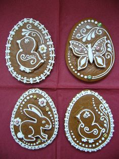 Photo: Lace Cookies, Royal Icing Cookies, No Bake Cookies, Easter Cookies, Easter Treats, Christmas Cookies, Biscuit Decoration, Gingerbread House Designs, Royal Icing Transfers