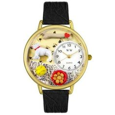 Whimsical Unisex Bulldog Black Skin Leather Watch