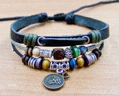 charm leather bracelet for men women Surfer Cuff  by lifesunshine, $6.99