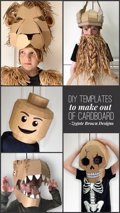 Mothers Day Crafts For Kids Discover DIY Templates to make out of cardboard Mothers Day Crafts For Kids, Halloween Crafts For Kids, Diy Halloween Decorations, Halloween Fun, Diy For Kids, Fun Crafts, Halloween Dresses For Kids, Cardboard Costume, Cardboard Crafts