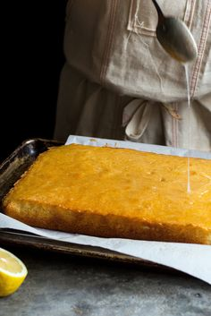 NYT Cooking: This light and moist lemon poundcake has a crunchy sugar glaze that crystallizes on top, giving a contrasting texture to the soft crumb underneath. It's an easy-to-make, crowd-pleasing cake that's excellent on its own but takes well to embellishments. A scoop of ice cream or sorbet, fruit compote and-or lemon curd are all wonderful alongside.