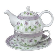 Tea for One, Teapot and Teacup Set with Saucer in Violet Polka Dot & Trellis by Andrea by Sadek, http://www.amazon.com/dp/B009JKVF56/ref=cm_sw_r_pi_dp_LX5rrb1FWWP1P