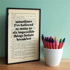 Wall Envy - Alice In Wonderland, 'Six impossible things before breakfast...'
