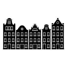 Amsterdamse huisjes sticker raamsticker muursticker