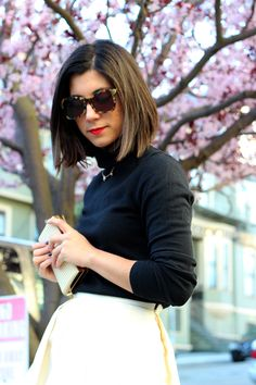 This Time Tomorrow: classic red lip with tortoise shell sunnies and a basic turtleneck